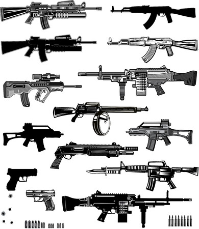 Modern  Guns: automatic weapon, machine gun and pistol