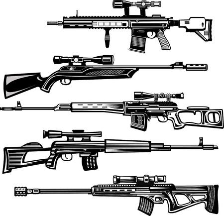Modern  Guns: Modern sniper rifles Stock Vector - 98703514