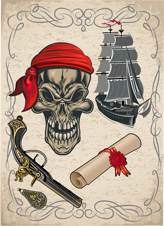 Pirate ship and skull Illustration