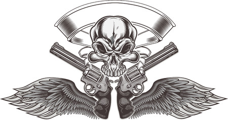 Skull with gun tattoo vector illustration design.