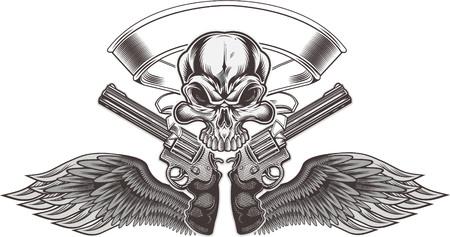 Skull with gun tattoo vector illustration design.