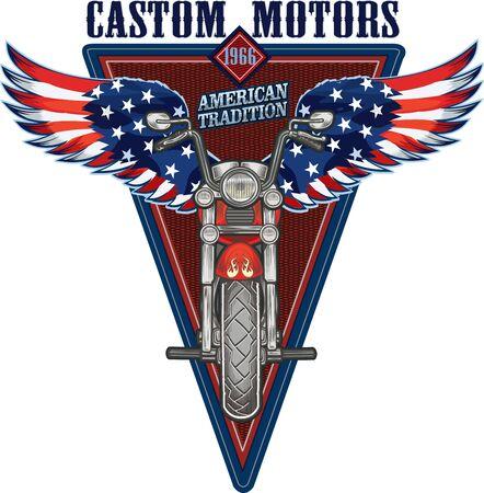 Motorbike and USA flag