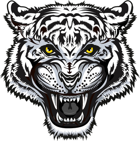 Tiger Face black and white Tattoo