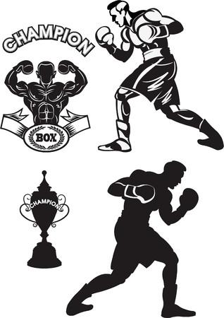 Box fighter training concept vector illustration