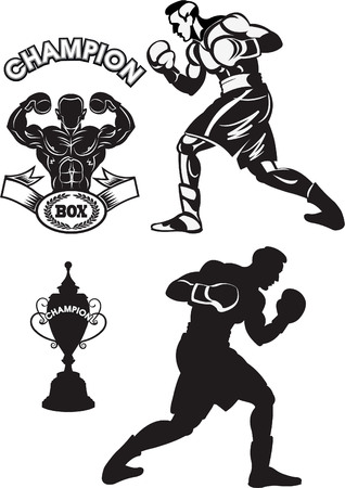 Box fighter training concept vector illustration