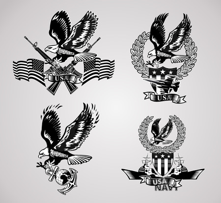 American eagle military marine and crossing rifles атв Military combat aircraft