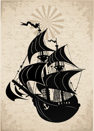 Old Pirate ship vector illustration