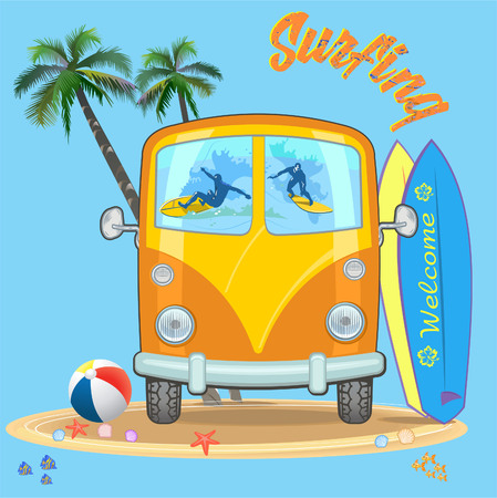 Old car and Surfing on a Wave vector illustration