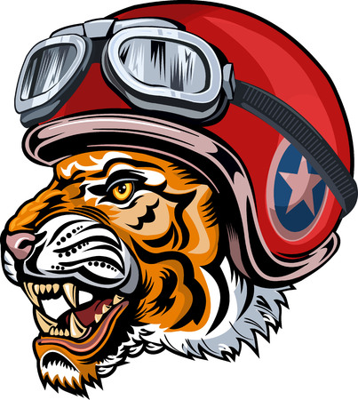 Angry tiger face with helmet illustration.