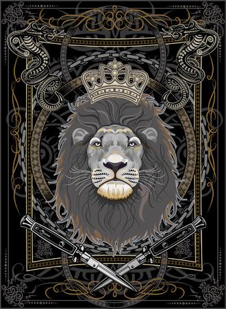 King Lion Face Illustration