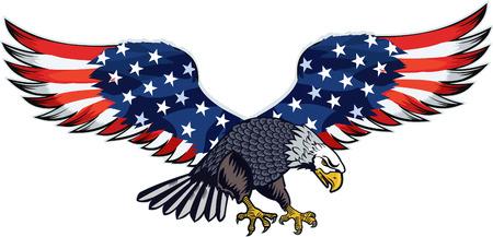 Amerikanischer Adler mit USA-Flaggen Standard-Bild - 102890067