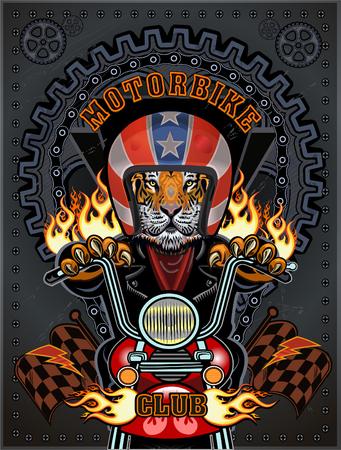 Vintage motorcycle label with Tiger Illustration