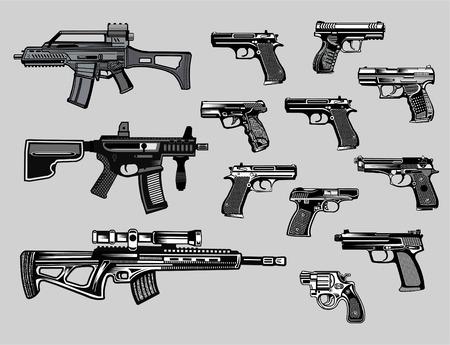 Armas modernas: arma automática, pistola y pistola Ilustración de vector