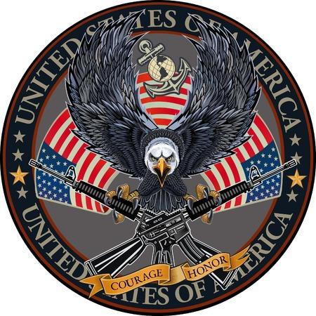 Amerikaanse adelaar met vlaggen van de VS.