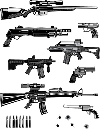 Modern  Guns: automatic weapon  and pistol Illustration
