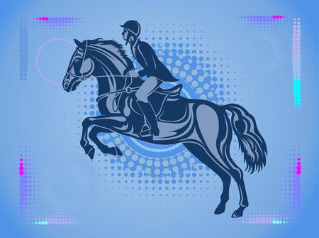 Horse and Rider silhouette Vettoriali
