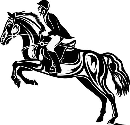 Paard en ruiter silhouet