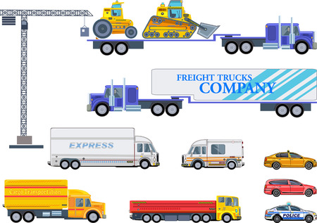 Different commercial truck and car  イラスト・ベクター素材