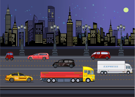 Cars in Night Town Illustration