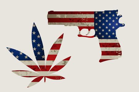 USA flag and Guns Stock Vector - 111560803