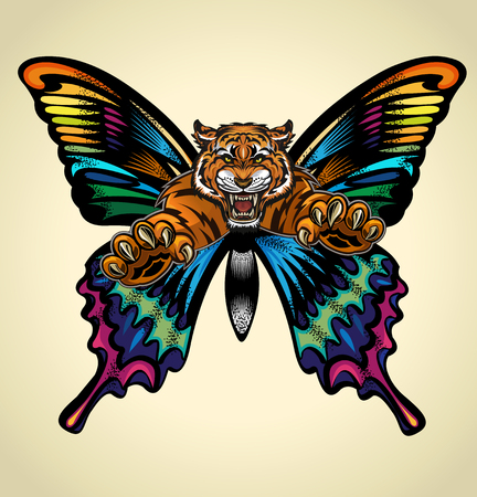Beautiful  Butterfly Tattoo. Angry tiger face