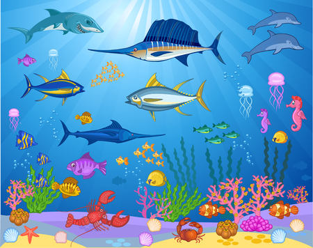 Fish swimming under the sea 스톡 콘텐츠 - 110349922