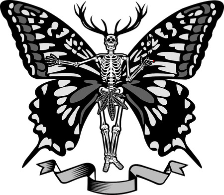 Skeleton and butterfly