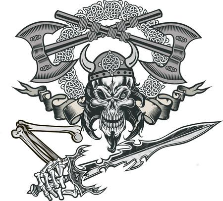 Wikingerschädel mit Schwert