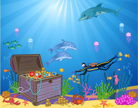 Treasure chest in underwater background Vectores