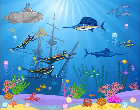 Peces y buceadores nadando bajo el mar.