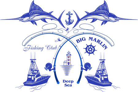 Fishing Big Marlin. Deep Sea 向量圖像