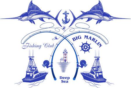 Pêche à Big Marlin. Mer profonde Vecteurs