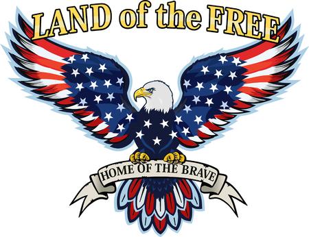 Aquila americana con bandiere Usa Vettoriali