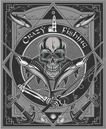 Pesca pazza. Pescatore scheletro cattura marlin e tonno