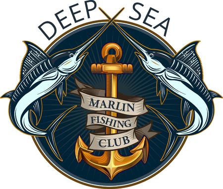 Fishing Big Marlin. Deep Sea Illustration