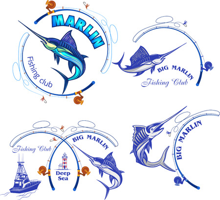 Fishing Big Marlin. Deep Sea Illustration