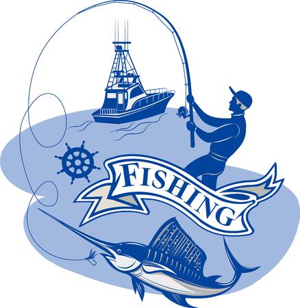 Fishing Big Marlin. Deep Sea