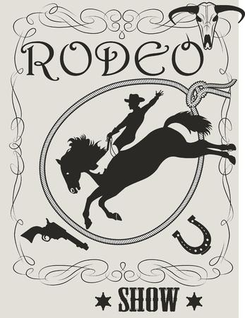 Man riding bucking bronco in rodeo wild west Ilustração