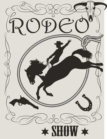 Man riding bucking bronco in rodeo wild west Illustration