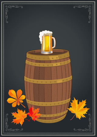 Celebration Oktoberfest with light beer mug and autumn leaves