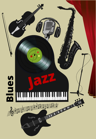 Black musical instruments electric guitar piano keyboard double bass saxophone microphone isolated on white background.