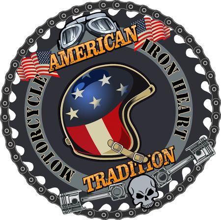 Motorbike helmet and USA flag