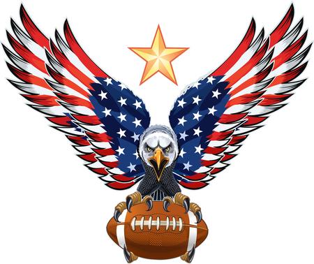 Águila americana con banderas de Estados Unidos y fútbol americano