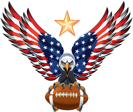Aquila americana con bandiere USA e Football americano