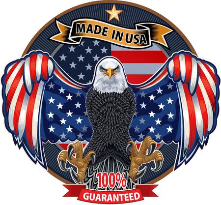 Águila americana con banderas de Estados Unidos