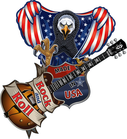 American eagle with USA flags Vetores