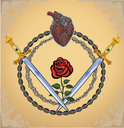 Heart with Rose and Dagger 向量圖像
