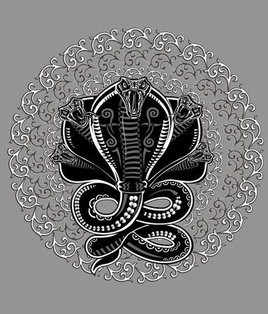 Cobra del tatuaggio del serpente Vettoriali
