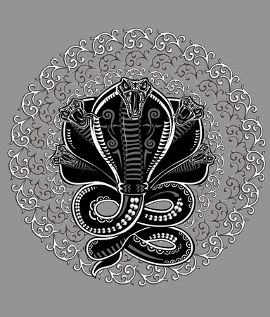 Tatuaje De Serpiente Cobra Ilustración de vector