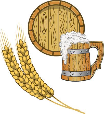 Light beer mug. Foamy beer in a wooden mug